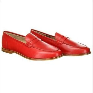 J Crew Women's Ryan Penny Loafers Leather Red